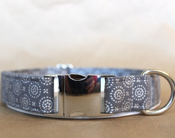 Gray and Silver Metallic Dog Collar with Metal Buckle - Polka-dot, Aluminum Buckle, Puppy, Handmade, Silver Buckle