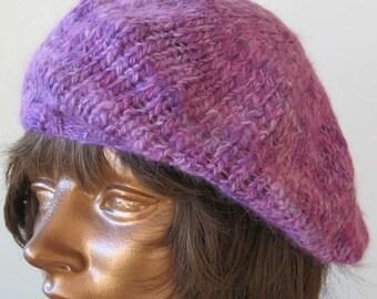 Hand spun, hand dyed, hand knit Beret Angora Merino Silk lavender lilac by Luce Knots