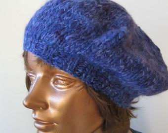Hand spun, hand dyed, hand knit Beret Angora Merino Silk Purple, lavender, magenta by Luce Knots