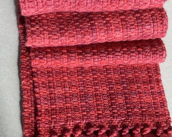 Hand woven, hand dyed, very soft organic merino wool scarf in sunset  colors