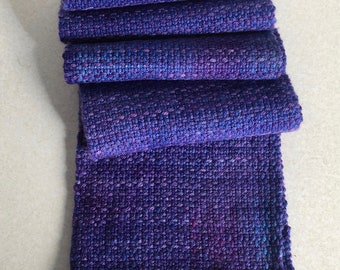 Hand woven, hand dyed Targhee wool scarf