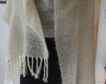Light, fluffy, elegant hand woven kid mohair shawl gentle soft warm natural white by Luce Knots