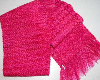 Hand woven Hand dyed Merino wool scarf in cord weave