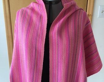 Handwoven pink cotton shawl