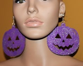 Purple glittered Jack-O-Lantern earrings Halloween earrings Novelty earrings Pumpkin earrings Large earrings Pierced or clip-on earrings