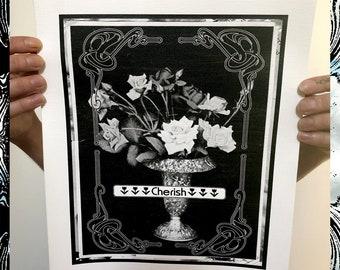 "CHERISH VINYL POSTER ~ 11X13"" ~ Printed on High Quality Vinyl ~ Waterproof - Memorial Rose Vessel w Art Deco Mucha Frame"