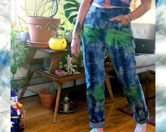 INDIGO CHAIN JEANS ~ W Chain Link Lime Painted Details - 100% Cotton Fits 28 29 30 Waist - Tie Dye Hand Printed