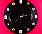 Madame Mahj s MAH JONGG Time Ltd Ed 13 quot Wall Clock Black wood Vintage luggage tags. North, East, West South wind 60s Cardinal tiles W-0230