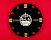 MAH JONGG wall clock w 1927 Edison Diamond Disc retro label quot You Went Away Too Far. quot Vintage 20s Bamboo wind tiles Cinnabar hour markers.