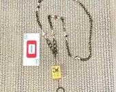 EYEGLASS CHAIN or Necklace. Vintage Bakelite Mah Jongg 4 Bamboo Flower tile. Jasper, Czech glass and shell seed beads. Brass chains.