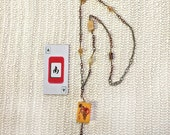 Eyeglass Chain or Necklace with vintage MAH JONGG Bakelite 5 flower tile. Tri-color chains, metal, glass, gemstone and crystal beads. South