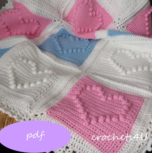 Crochet Pattern Heart Afghan Crochet Blanket Pattern Baby Etsy