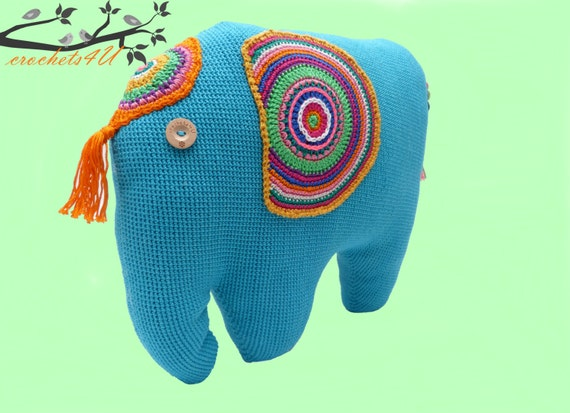 Crochet Pattern Elephant Elephant Pillow Crochet Elephant Etsy