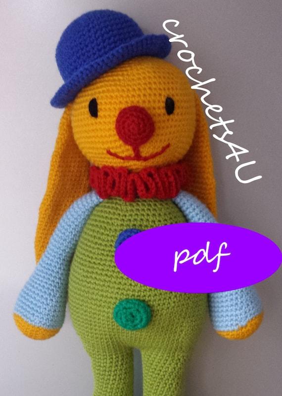 crochet pattern bunny clown crochet bunny crochet clown | Etsy