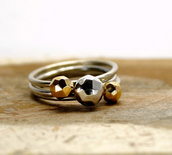 Floral Hammered Bubbles Rings Set of Six Rings 925 Silver Rings