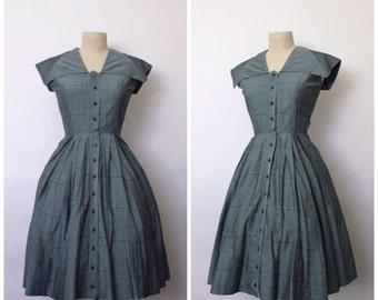 SALE || Vintage 1940s Dress | 1950s Dress | 1950s Sailor Dress | Green Grey Striped Dress | S