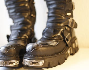 new concept b0298 d7ccf Tall Black Leather New Rock Boots  Size 6 UK (39)