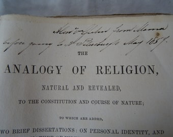 1855 The Analogy of Religion by Joseph Butler D.C.L., Late Lord Bishops of Durham