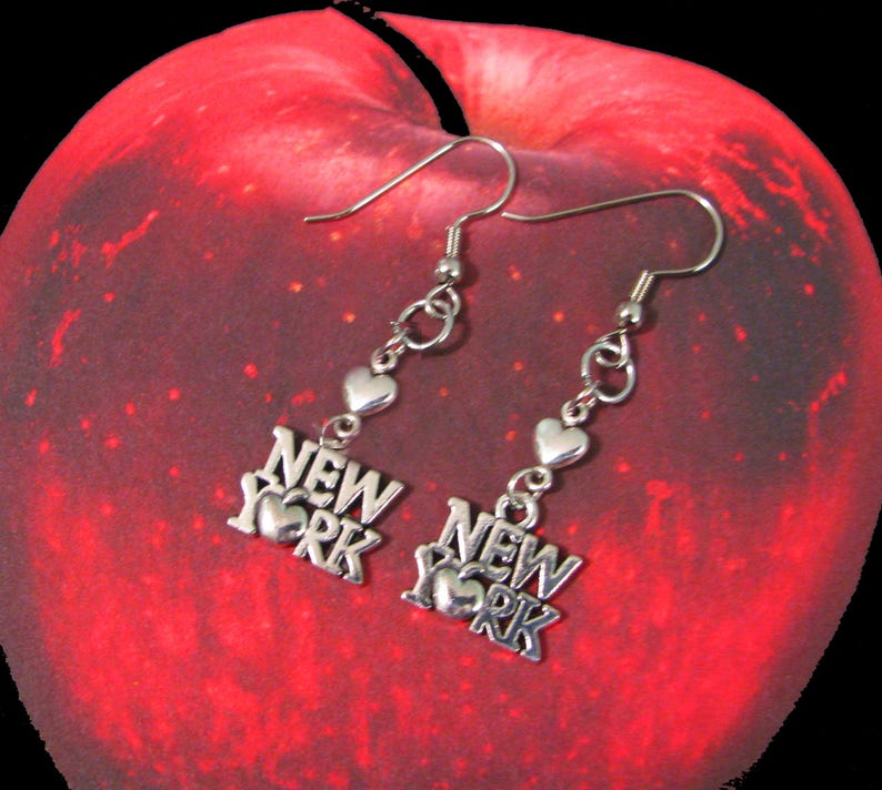 Lovely NEW YORK Earrings I Heart New York Custom Orders Welcome Big Apple NYC