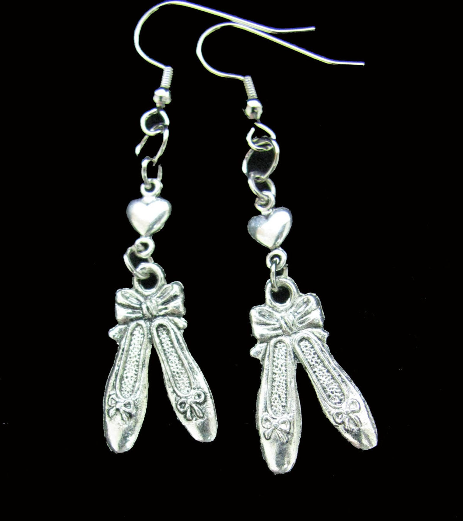 ballet shoes earrings - perfect gift idea for the dancer! - christmas gift idea, stocking stuffer, dance recital gift idea