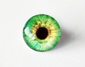 14mm handmade glass eye cabochon - green eye - standard profile