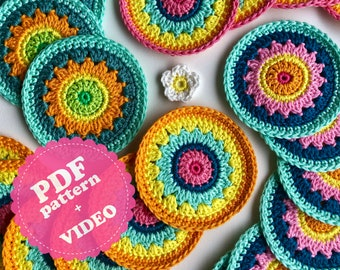 Crochet Pattern Tutorial Flower Coaster 'Polly' PDF + Video ENGLISH
