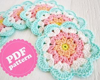 Crochet Pattern Tutorial Flower Coaster PDF ENGLISH