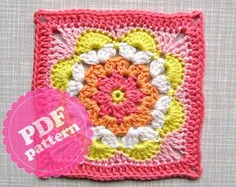 Crochet Pattern Tutorial Flower Square *Addition* PDF ENGLISH