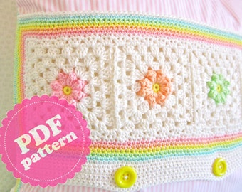 Crochet Pattern Flower Square 8 Tutorial ENGLISH