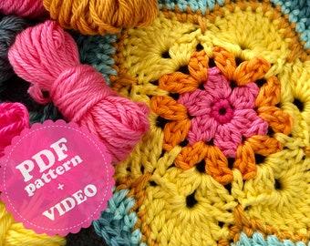 Crochet Pattern Tutorial Hexagon 'Peggy' PDF + Video ENGLISH