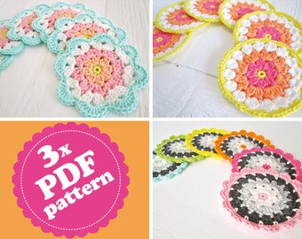 Crochet Patterns Flower Coasters 3-Pack ENGLISH