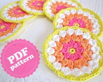 Crochet Pattern Tutorial Flower Coaster II  PDF ENGLISH
