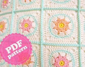 Crochet Pattern Tutorial Flower Square ENGLISH