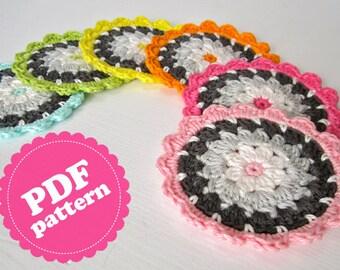 Crochet Pattern Flower Coaster ENGLISH PDF