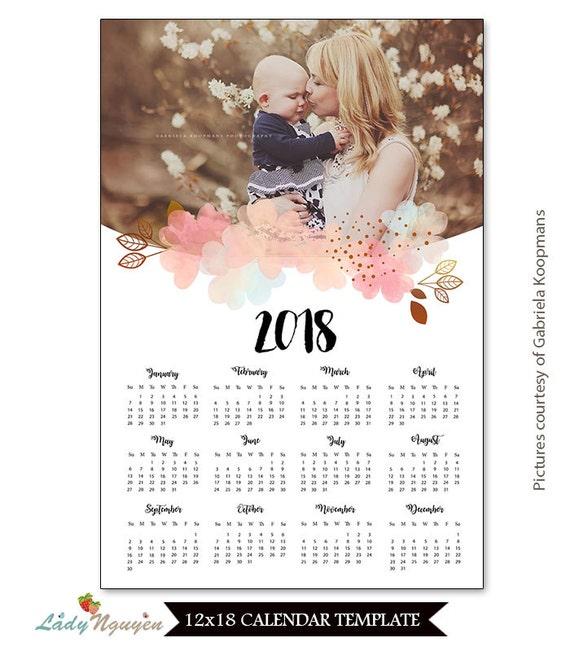 SOFORTIGER DOWNLOAD 12 x 18 Kalendervorlage 2018 CAL024   Etsy