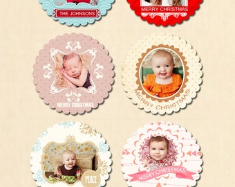 INSTANT DOWNLOAD - 6 Photoshop Scalloped Cards - Holiday Tree Ornament Card Templates- CA324