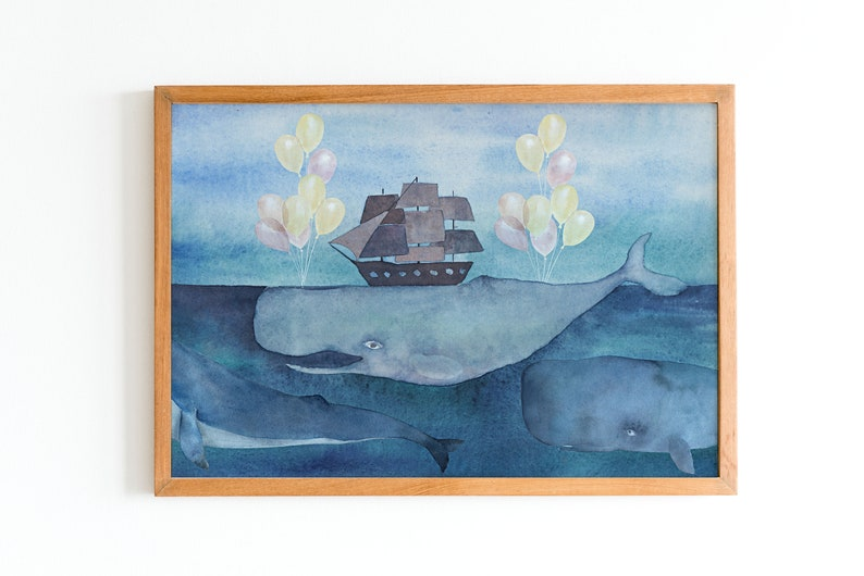 Watercolor nursery picture Ship on whale image 0