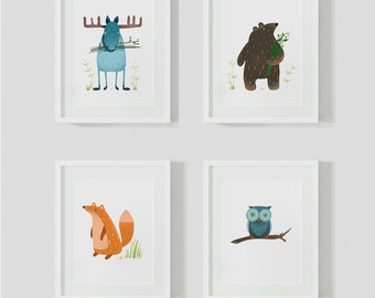 "4 children's Room pictures ""animals"""
