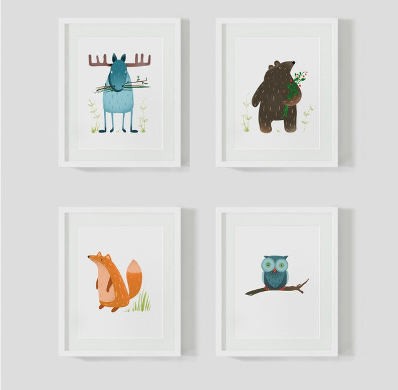 4 children's room pictures forest animals image 0