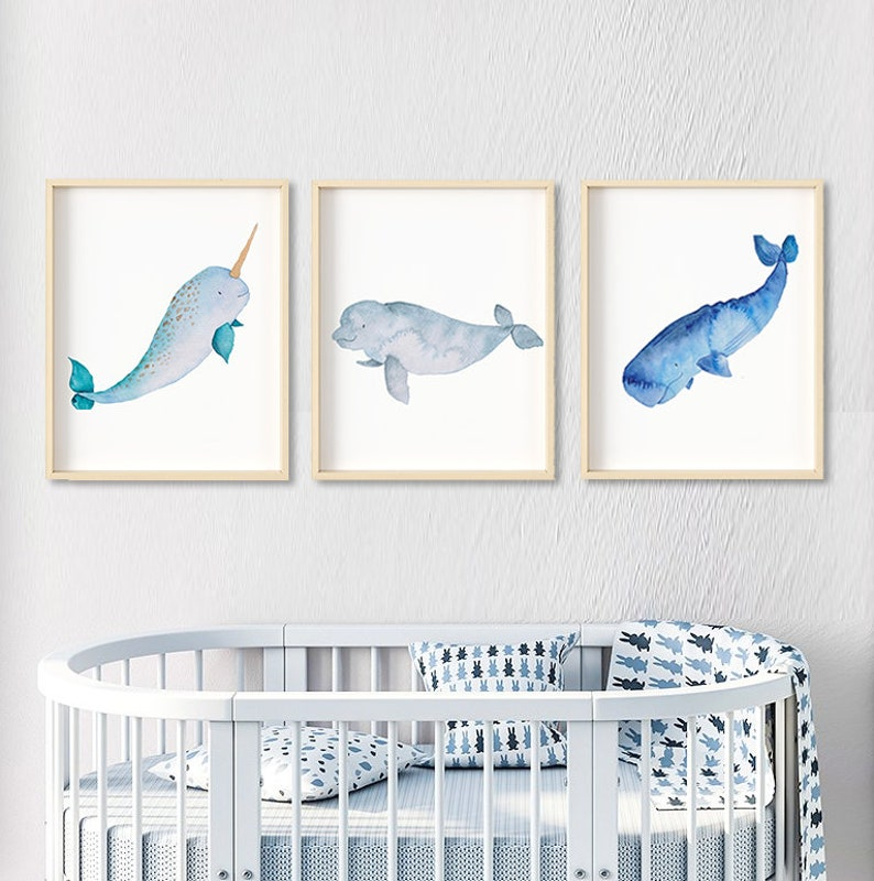 3 Auarell children's room pictures Whales image 0