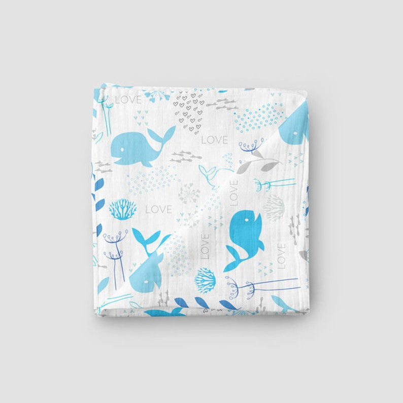 Muslin cloth whales made of organic cotton image 0