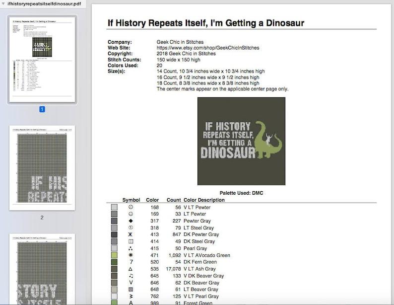 I/'m Getting a Dinosaur Cross Stitch Pattern Image Chart If History Repeats Itself