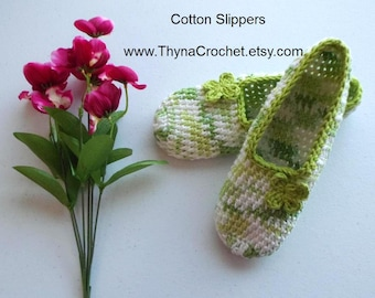 St. Patrick's Day Crochet Cotton Slippers, Women's House Shoes