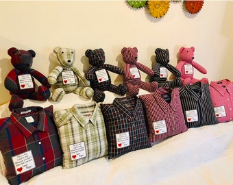 Custom Memory Bear Handmade Keepsake Bear and Matching Pillow with custom embroidery Made from my own patterns.