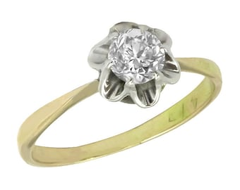 Victorian 0.70ct Diamond  SIlver & Gold Engagement Ring