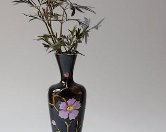 Vintage Black Amethyst Bristol Glass Vase Floral Decoration