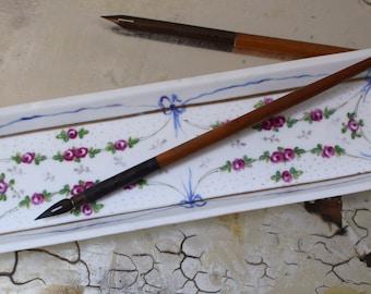 Vintage Pen Tray Hand Painted Porcelain Rose Ribbon Pattern Josephine