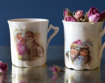 Vintage Tea Coffee Cups Victorian Era Children