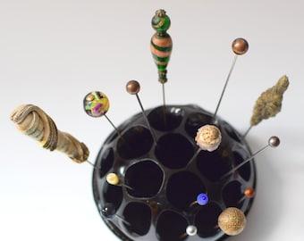 Vintage Flower Frog Black Amethyst Glass George Davidson 11.5cm
