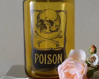 Vintage Glass Apothecary Poison Jar Skull & Crossbones Motif Limited Edition